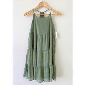 Tucker + Tate Macrame Green tiered dress XL